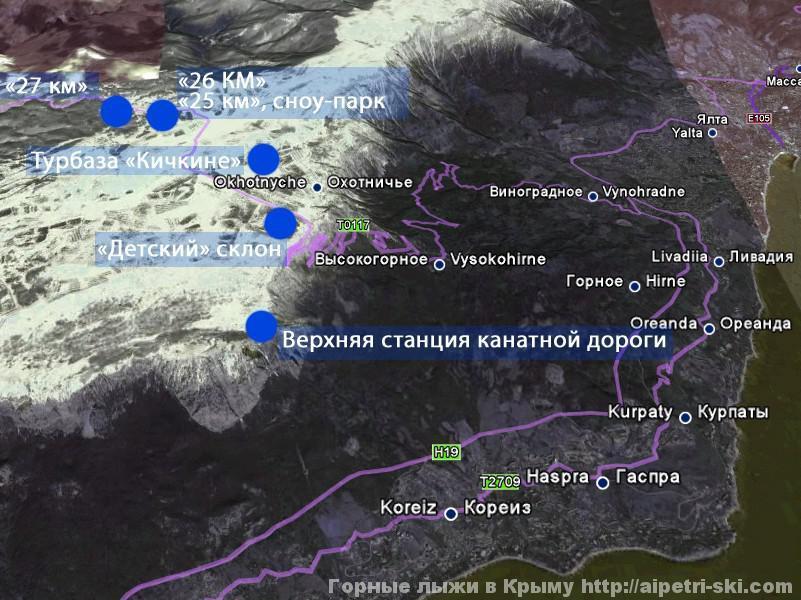 Подробная карта Ай-Петри с подъемниками  и достопримечательностями